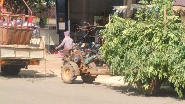 Dùng xe công nông thu gom rác