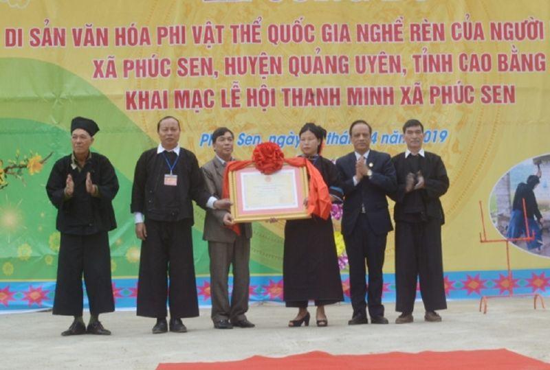 Bộ VH-TT&DL đã có QĐ số 446 công nhận nghề rèn của người Nùng An, xã Phúc Sen là Di sản Văn hóa phi vật thể quốc gia