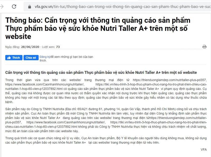 Cục ATTP ra thông báo với sản phẩm Nutri Taller A+