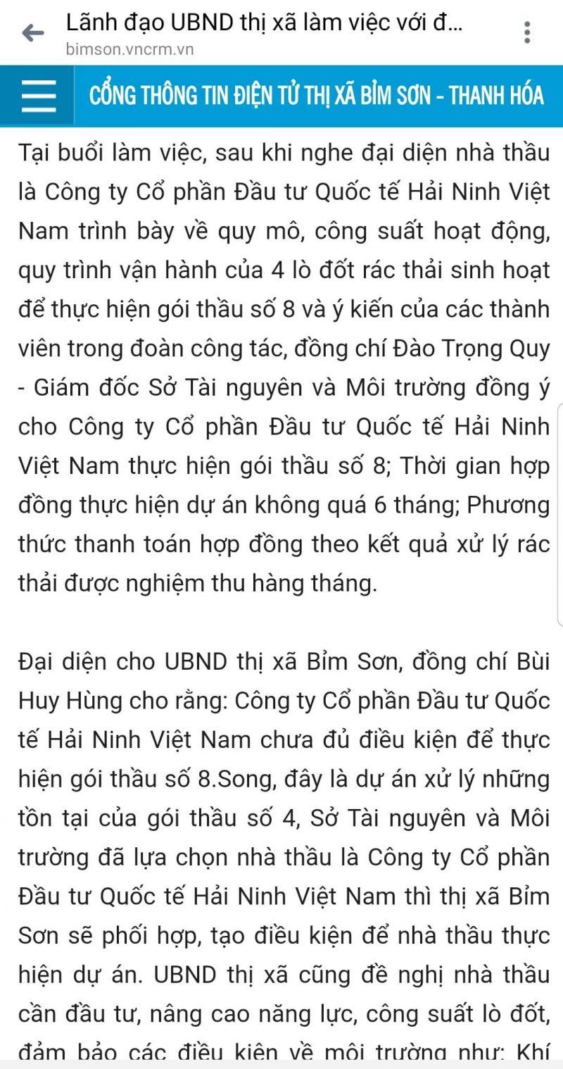 đoàn công tác của ông Đào Trọng Quy – Giám đốc Sở TN&MT Thanh Hóa đã làm việc với với UBND thị xã Bỉm Sơn