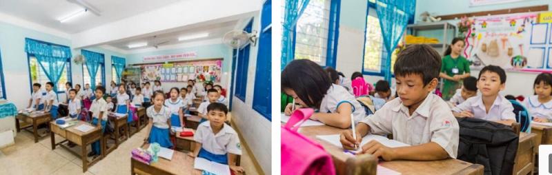 Lớp 2A, Trường Tiểu học Thị trấn Di Lăng 1 với 15 em học sinh người đồng bào thuộc diện được uống sữa theo chương trình.