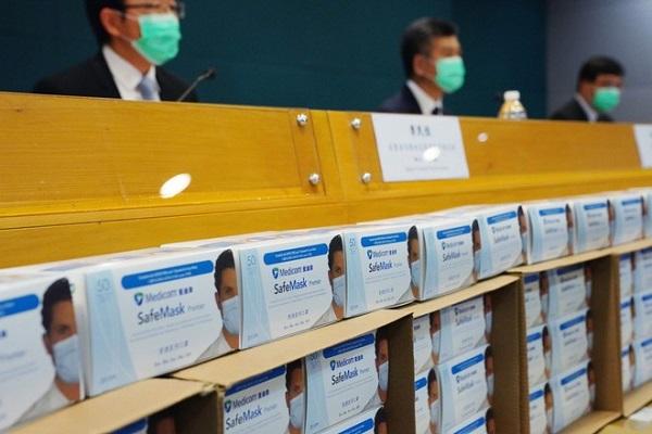 Các hộp khẩu trang giả mạo thương hiệu Medicom Asia (Ảnh: SCMP)