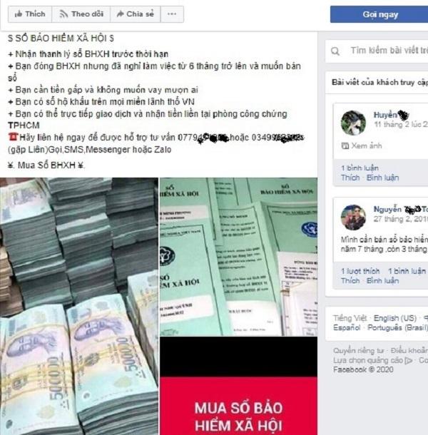 Trang mạng Facebook rao mua bán, thu gom sổ BHXH của người lao động xuất hiện ngày càng nhiều trong thời gian dịch Covid-19 bùng phát