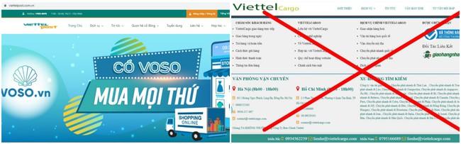 Trang web chính thức và website giả mạo đơn vị chuyển phát của Viettel