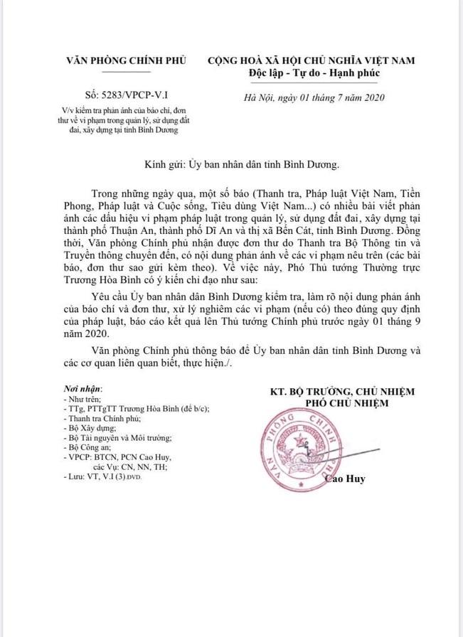 Văn phòng Chính phủ chỉ đạo kiểm tra phản ánh của báo chí đối với tỉnh Bình Dương