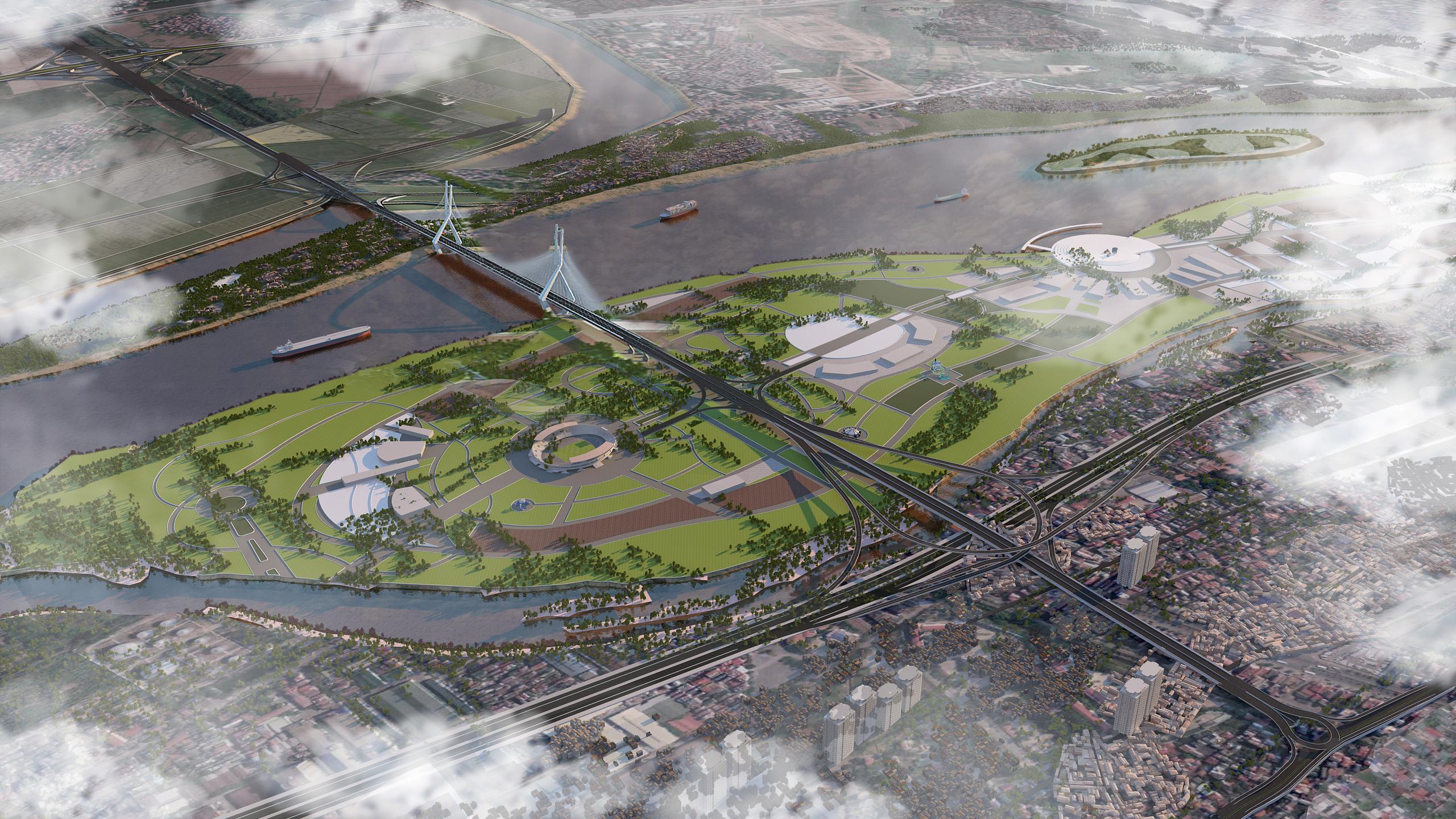 Cầu Tứ Liên có kiến trúc độc đáo nối trung tâm Hà Nội với sân bay quốc tế Nội Bài.
