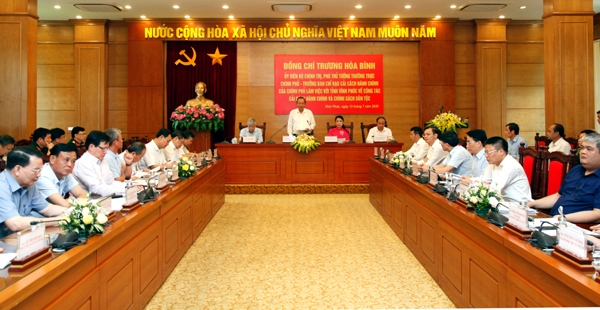 Phó Thủ tướng thường trực Chính phủ Trương Hòa Bình phát biểu tại buổi kiểm tra