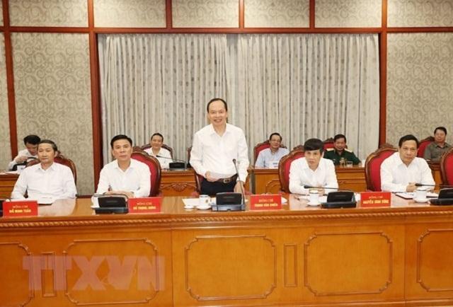 Ủy viên Trung ương Đảng, Bí thư Tỉnh ủy Thanh Hóa Trịnh Văn Chiến phát biểu tại cuộc họp