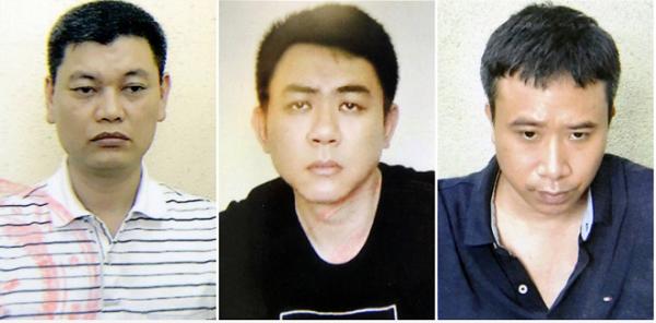 3 bị can Nguyễn Ngọc Anh, Nguyễn Hoàng Trung, Phạm Quang Dũng ( từ trái sang). (Ảnh: Bộ Công An)