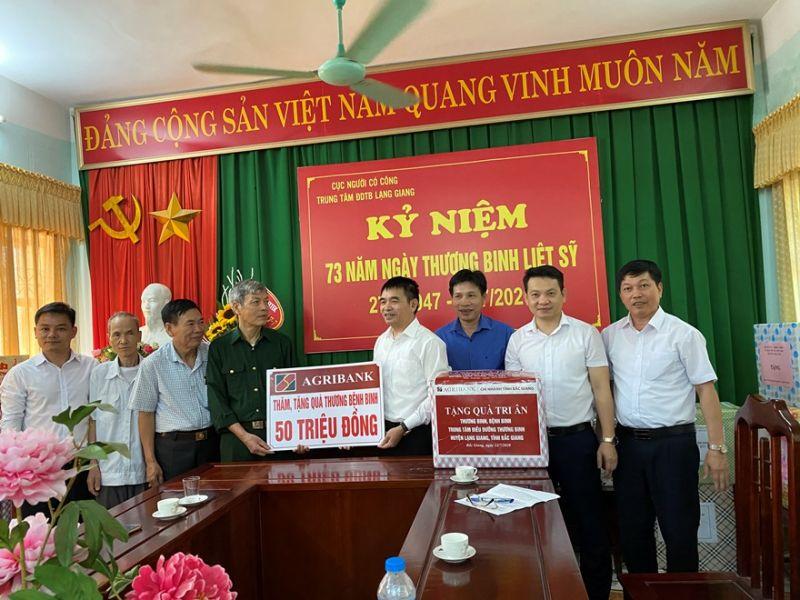 Công đoàn Agribank, Công đoàn cơ sở Agribank Bắc Giang thăm hỏi, tặng quà Trung tâm điều dưỡng thương binh Lạng Giang, Bắc Giang