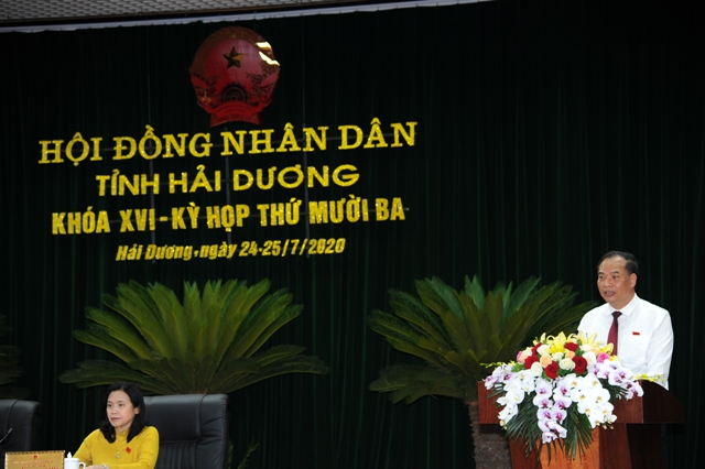 Bí thư tỉnh Hải Dương phát biểu tại buổi bế mạc kỳ họp 13 HĐND