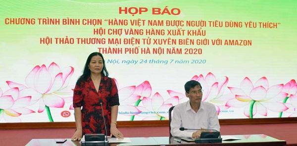 Phó Giám đốc Sở Công Thương Hà Nội, Trần Thị Phương Lan phát biểu tại buổi họp báo