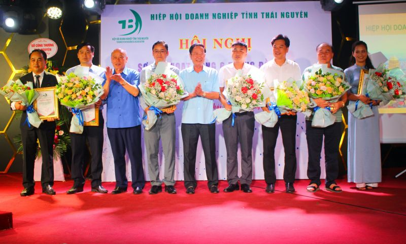 Lãnh đạo Hiệp hội doanh nghiệp tỉnh trao Giấy chứng nhận hội viên cho các doanh nghiệp mới
