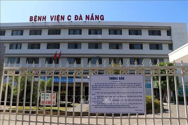 Bệnh viện C Đà Nẵng thực hiện cách ly y tế toàn bộ bệnh viện từ 0h00 ngày 24/7/2020. (Ảnh: Lê Lâm/TTXVN)