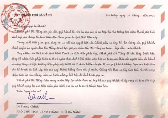 Tâm thư của lãnh đạo TP.Đà Nẵng gửi du khách, mong được đồng hành chống dịch COVID-19.