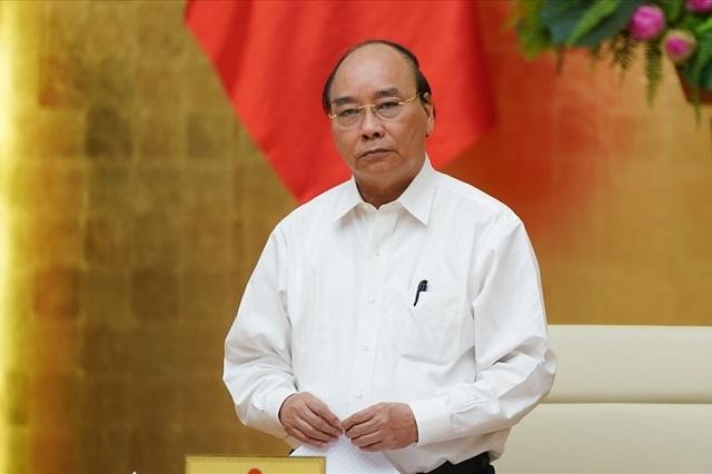 Thủ tướng Chính phủ Nguyễn Xuân Phúc tại cuộc họp của Thường trực Chính phủ về phòng chống dịch COVID-19. Ảnh VGP