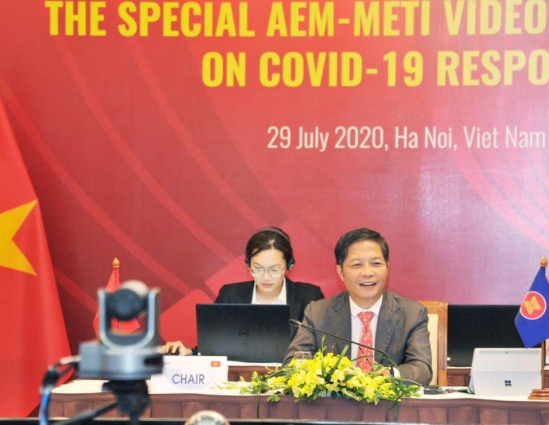 Bộ trưởng Bộ Công Thương Trần Tuấn Anh đã chủ trì Hội nghị Bộ trưởng Kinh tế ASEAN - Nhật Bản theo hình thức trực tuyến