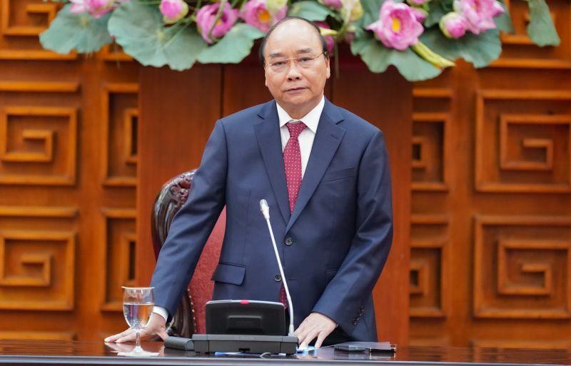 Thủ tướng Nguyễn Xuân Phúc phát biểu tại cuộc gặp - Ảnh: VGP/Quang Hiếu