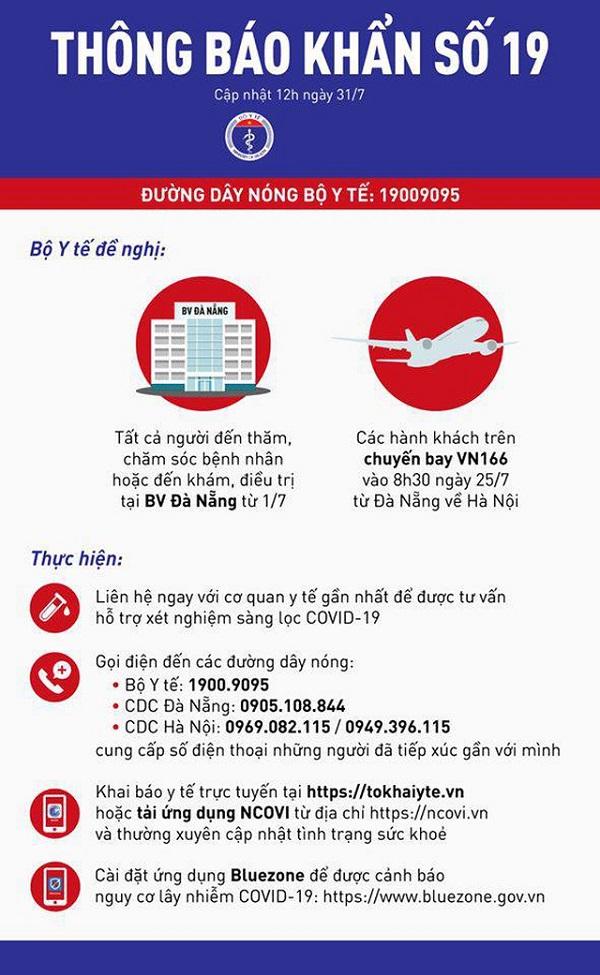 Thông báo khẩn số 19 của Bộ Y tế tìm người từng đến BV Đà Nẵng và đi chuyến bay VN166