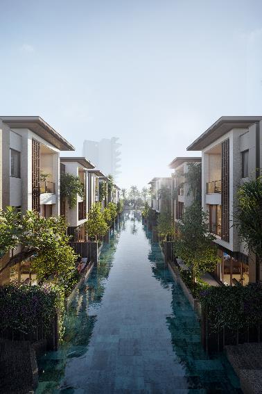 24 biệt thự Sông Thu – Row Villa có hồ bơi trải dài sau hiên nhà. Biệt thự được thiết kế loại bỏ góc nhìn trực tiếp từ bên ngoài, đảm bảo sự riêng tư
