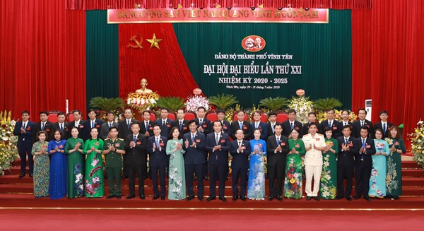Ban chấp hành Đảng bộ thành phố Vĩnh Yên nhiệm kỳ 2020-2025 chính thức ra mắt