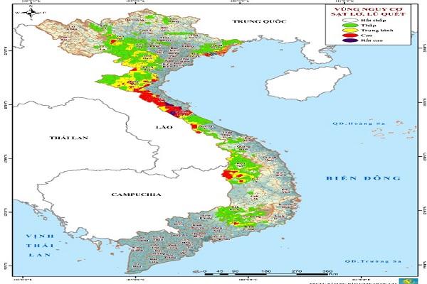 Bản đồ cảnh báo những vùng có nguy cơ xảy ra lũ quét, sạt lở đất của Trung tâm Khí tượng Thủy văn Quốc gia.