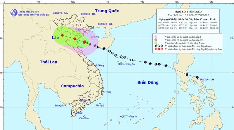 Hình ảnh dự báo hướng di chuyển của bão số 2