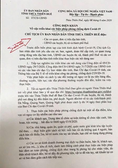 UBND tỉnh TT Huế công bố nhiều biện pháp mạnh kể từ 0g ngày 3/8/2020