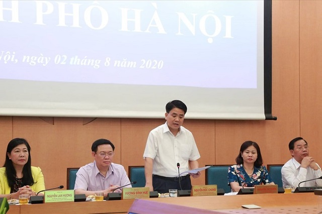 Chủ tịch Hà Nội Nguyễn Đức Chung phát biểu tại cuộc họp trực tuyến toàn quốc về phòng, chống COVID-19. Ảnh: Lê Xuân Hải
