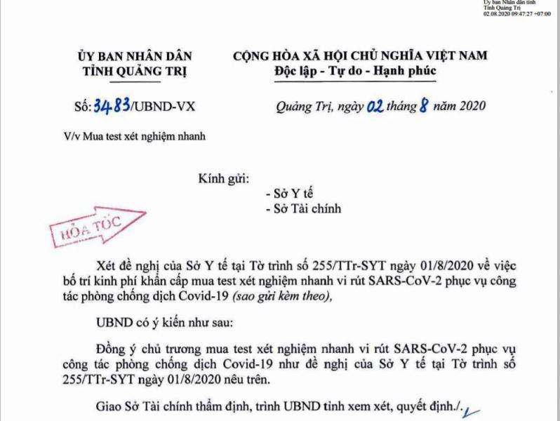 Công văn số 3483/UBND-VX gửi Sở Y tế và Sở Tài chính về việc mua test xét nghiệm nhanh vi rút SARS-CoV-2