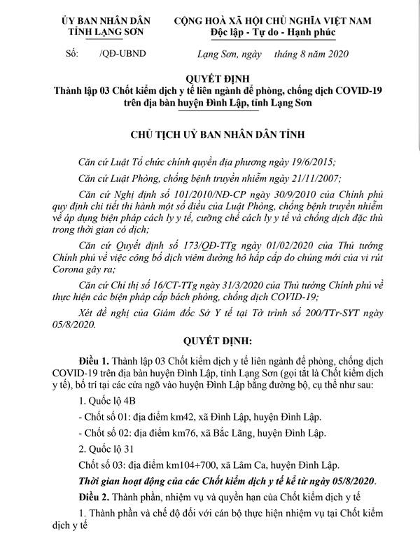 Lạng Sơn: Thành lập 3 chốt kiểm dịch y tế phòng, chống dịch COVID-19 trên địa bàn huyện Đình Lập
