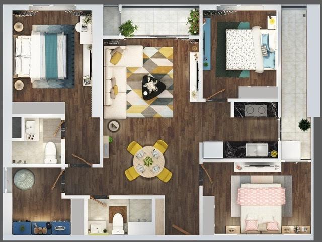 Căn hộ 04 phòng ngủ với không gian mở, công năng linh hoạt