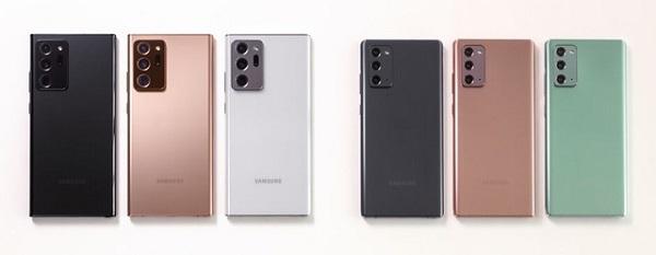 Các tùy chọn màu sắc của Galaxy Note20 và Note20 Ultra