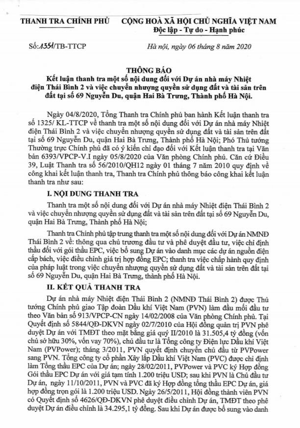 Kết luận Thanh tra chỉ ra một số sai phạm tại dự án Nhiệt điện Thái Bình 2