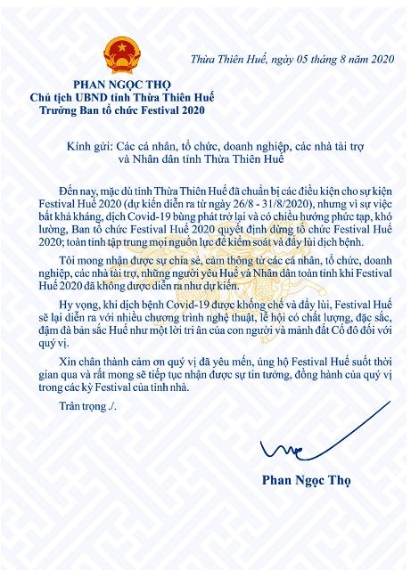 Thư Chủ tịch UBND tỉnh TT Huế gửi các nhà tài trợ, nhân dân....