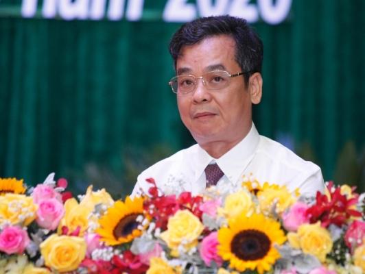 Bí thư Huyện ủy Vĩnh Tường Lê Minh Thịnh phát biểu tại đại hội