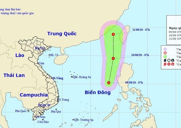 Vị trí và hướng di chuyển của áp thấp nhiệt đới (Ảnh: NCHMF)