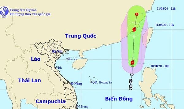 Dự báo đường đi của bão số 3 trong những giờ tới (Ảnh: NCHMF)