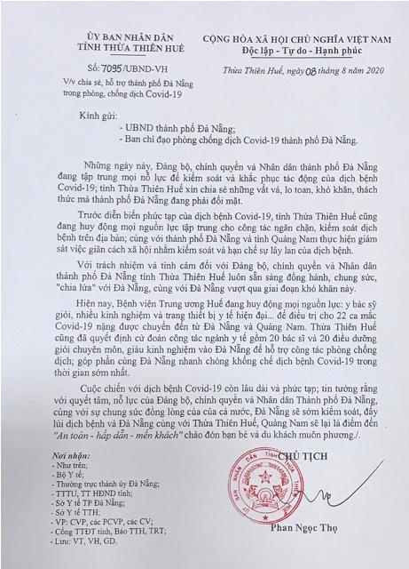 Công văn của chủ tịch UBND tỉnh TT Huế gởi TP Đà Nẵng