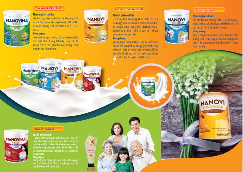 Các sản phẩm của Công ty Cổ phần sữa Nanovi Việt Nam
