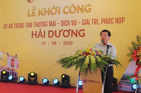 Chủ tịch UBND tỉnh Hải Dương phát biểu tại buổi lễ khởi công xây dựng Trung tâm thương mại.