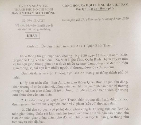 Công văn Ban ATGT TP.HCM gửi UBND - Ban ATGT quận Bình Thạnh