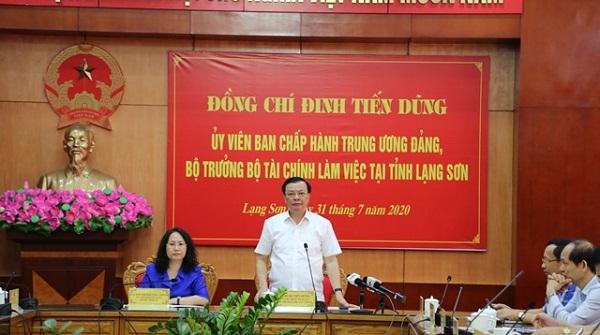 Bộ trưởng Bộ Tài chính, Đinh Tiến Dũng đánh giá cao công tác giải ngân vốn đầu tư công của tỉnh Lạng Sơn