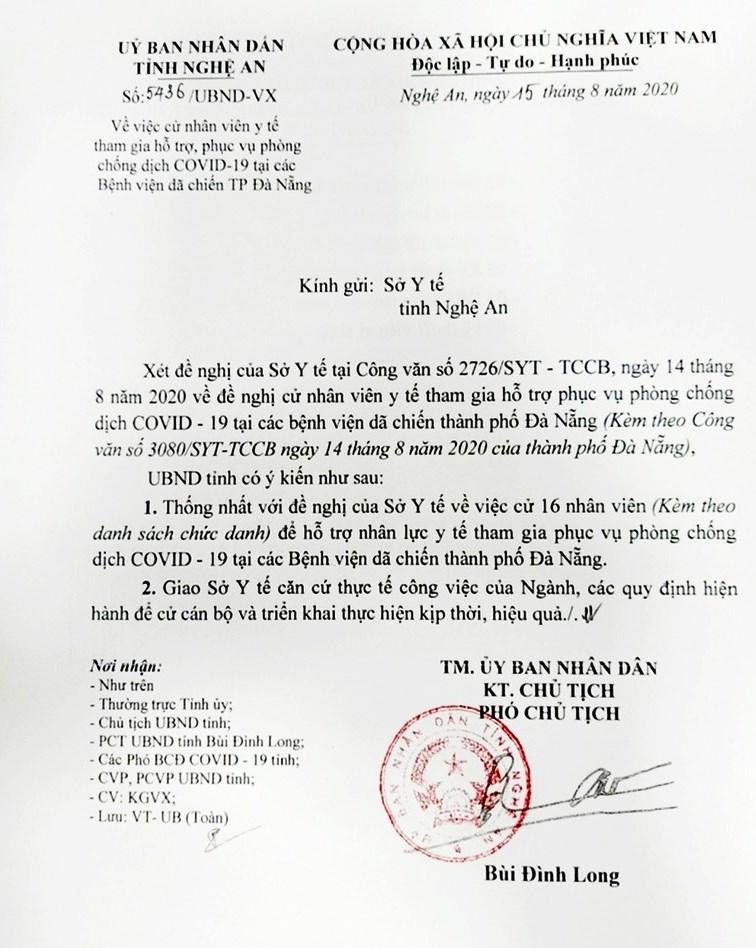 Công văn đồng ý cử cán bộ tăng cường phòng chống dịch Covid-19 cho Tp.Đà Nẵng