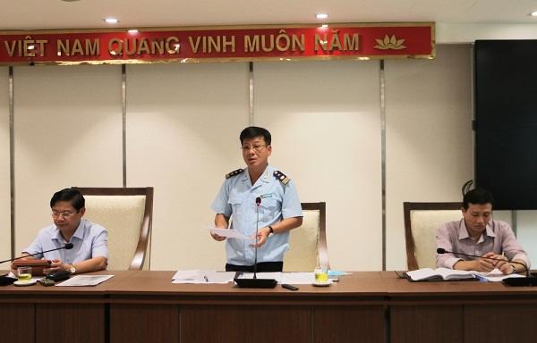 Phó Cục trưởng Cục Hải quan Hà Nội, Nguyễn Trường Giang tại buổi họp báo chiều 18/8