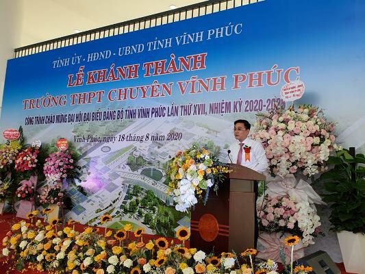 Ông Vũ Việt Văn, Phó chủ tịch UBND tỉnh Vĩnh Phúc phát biểu tại buổi lễ