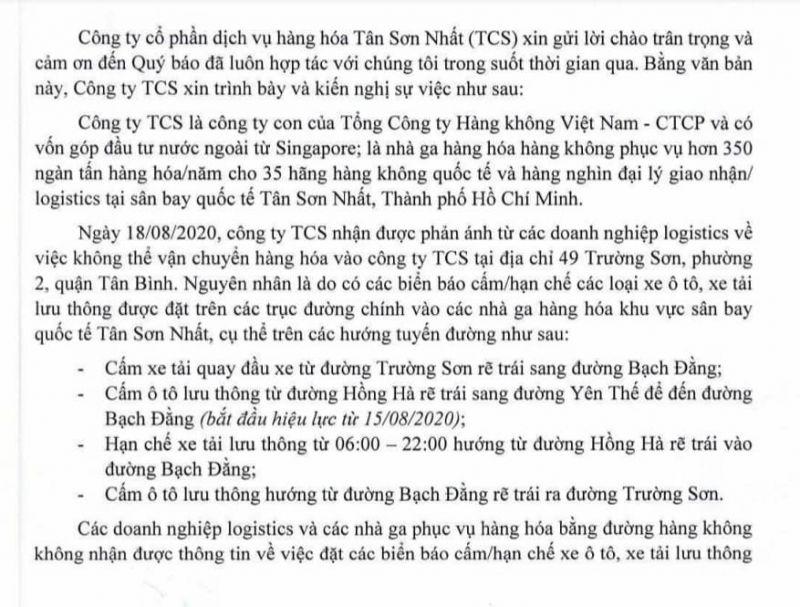 Nội dung kiến nghị của Công ty CP Dịch vụ hàng hóa Tân Sơn Nhất