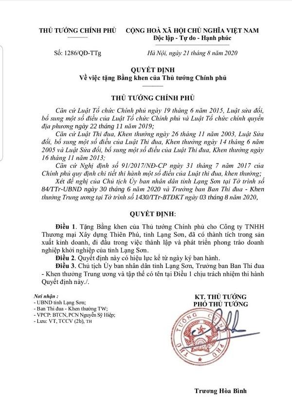 Doanh nghiệp hội viên Hiệp hội VATAP vinh dự được Thủ tướng Chính phủ tặng Bằng khen