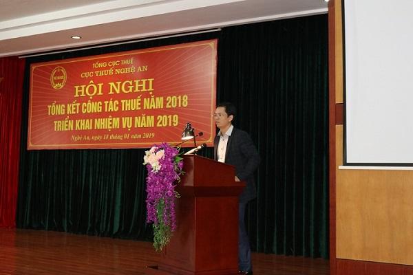 Ông Trịnh Thanh Hải, Cục trưởng Cục Thuế Nghệ An phát biểu tại Hội nghị triển khai công tác thuế