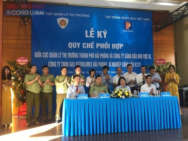 Lễ ký Quy chế phối hợp giữa Cục QLTT Hải Phòng và các doanh nghiệp thuộc Tập đoàn Xăng dầu Việt Nam kinh doanh trên địa bàn TP. Hải Phòng.